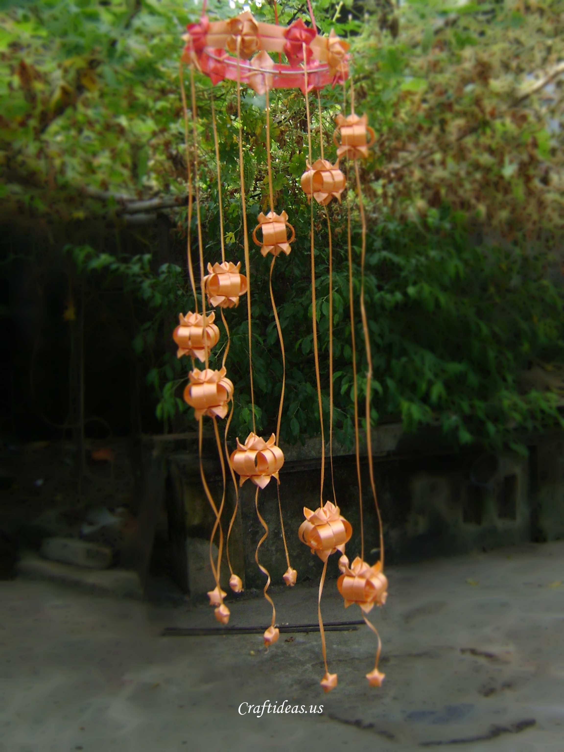 Make ribbon lantern and ribbon chandelier Craft Ideas