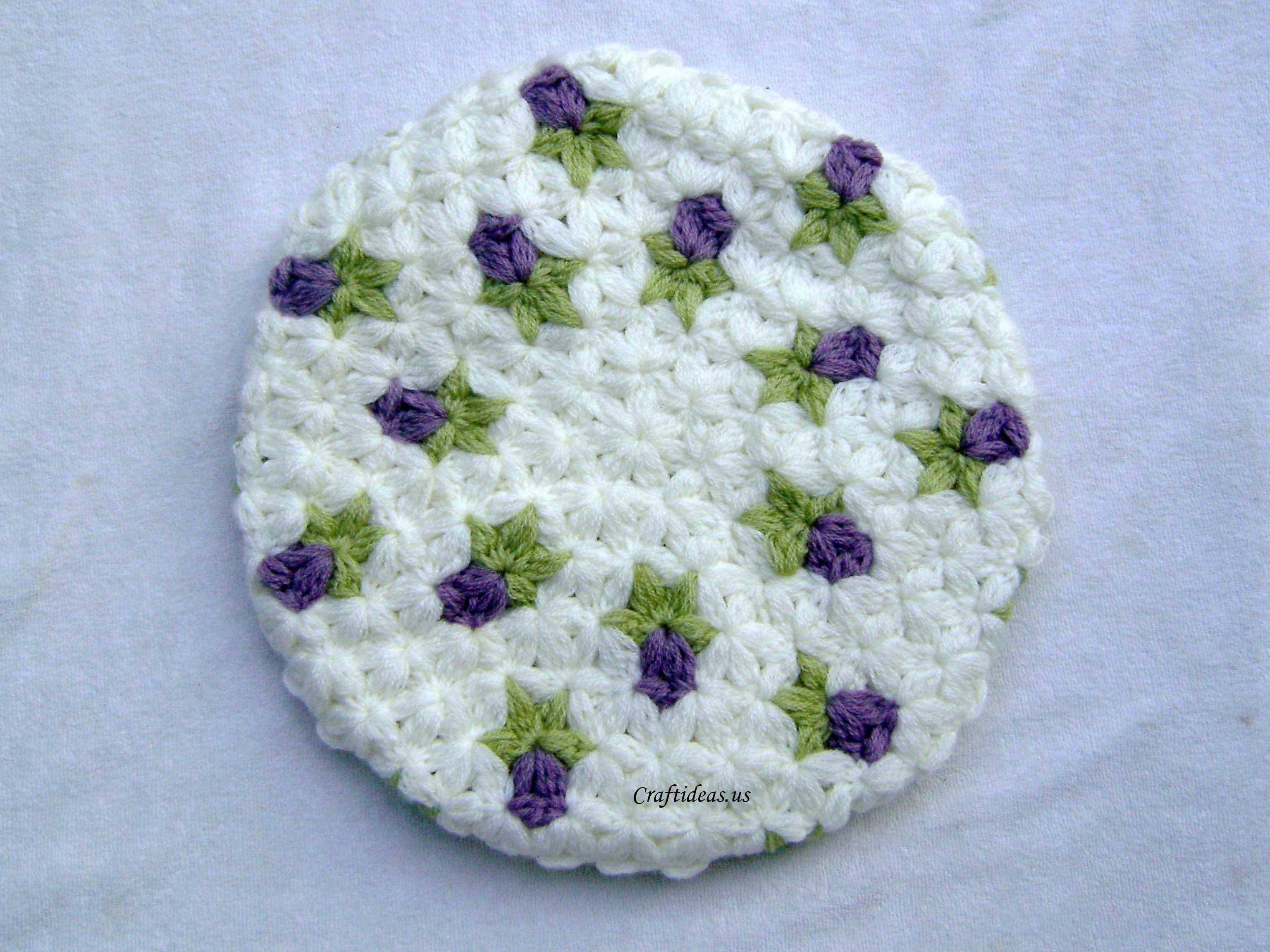 Crochet rose with 6-Petal Jasmine Stitch for beret - Craft Ideas