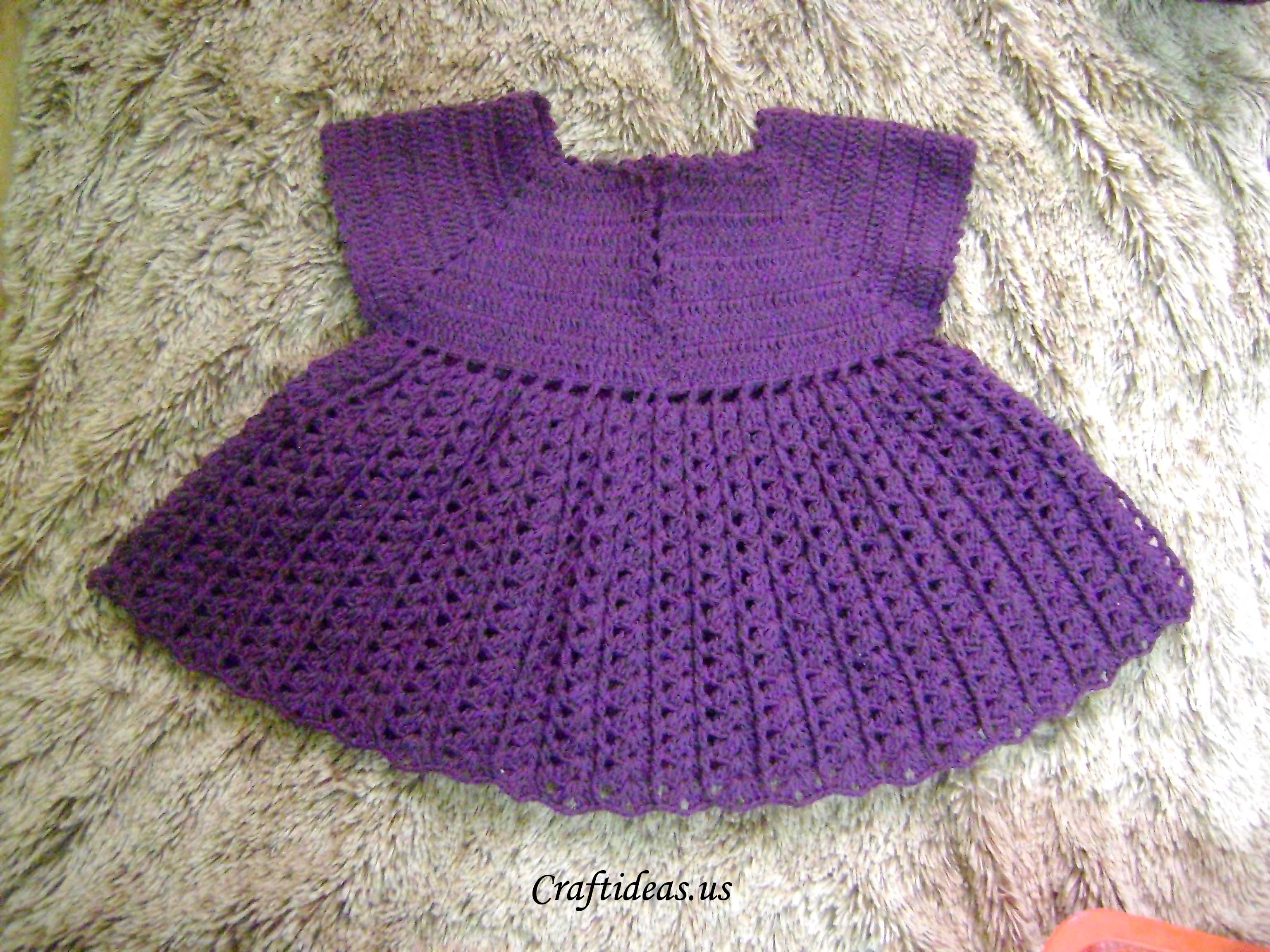 Crocheting Tutorials : Crochet dress for 1 year old girl tutorial: