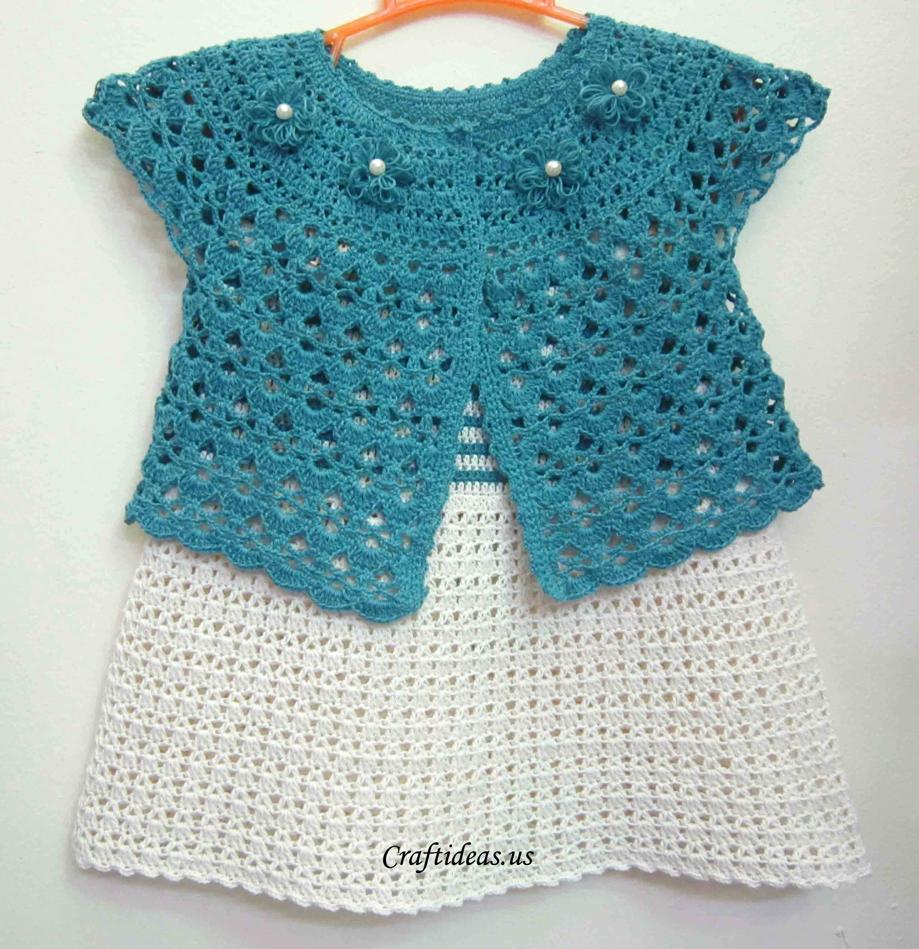 Crochet For Kids : Crafts for summer: crochet cute top dress for baby - Craft Ideas