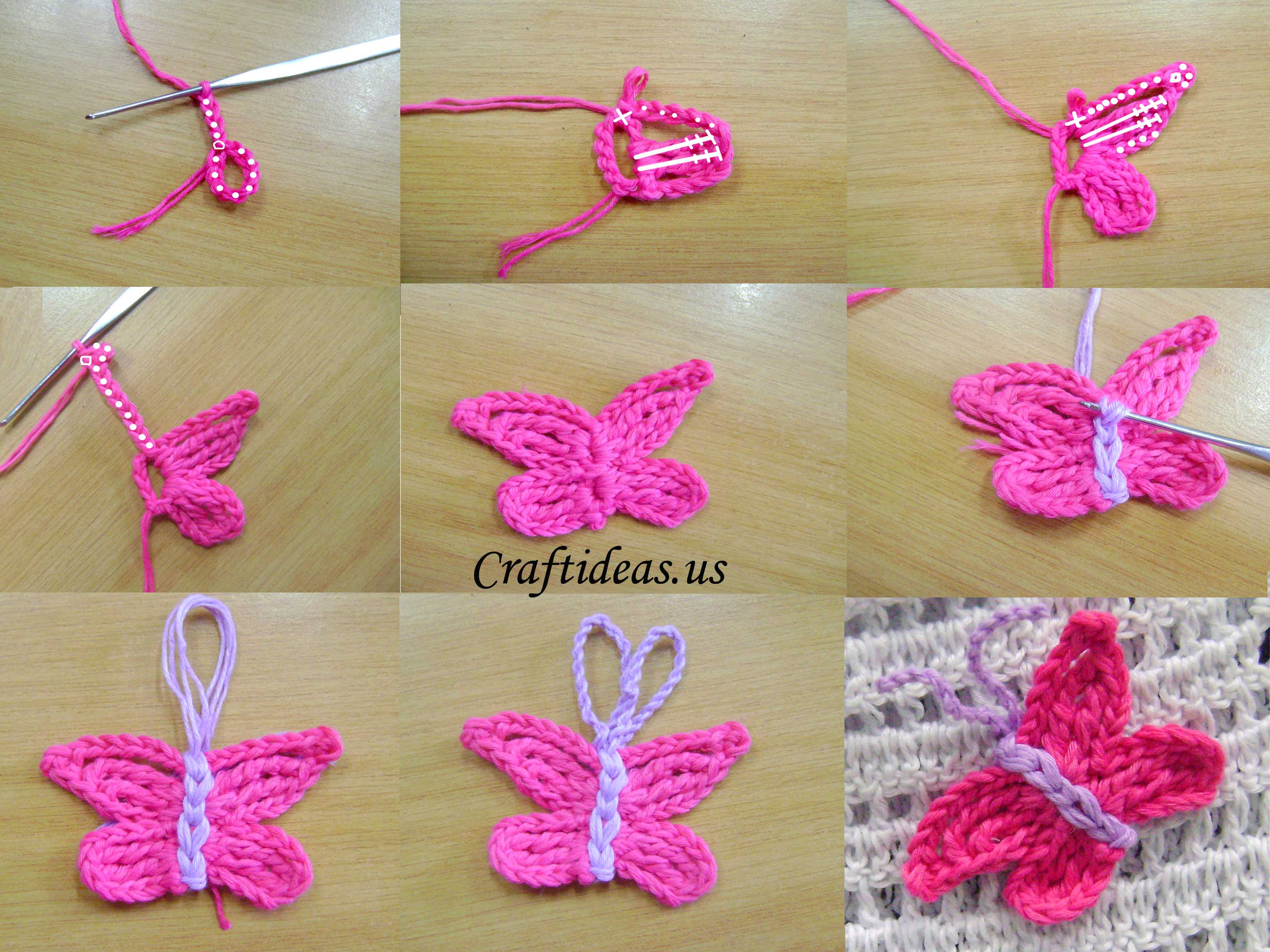 Crochet butterfly tutorial craft ideas for Cortinas artesanales