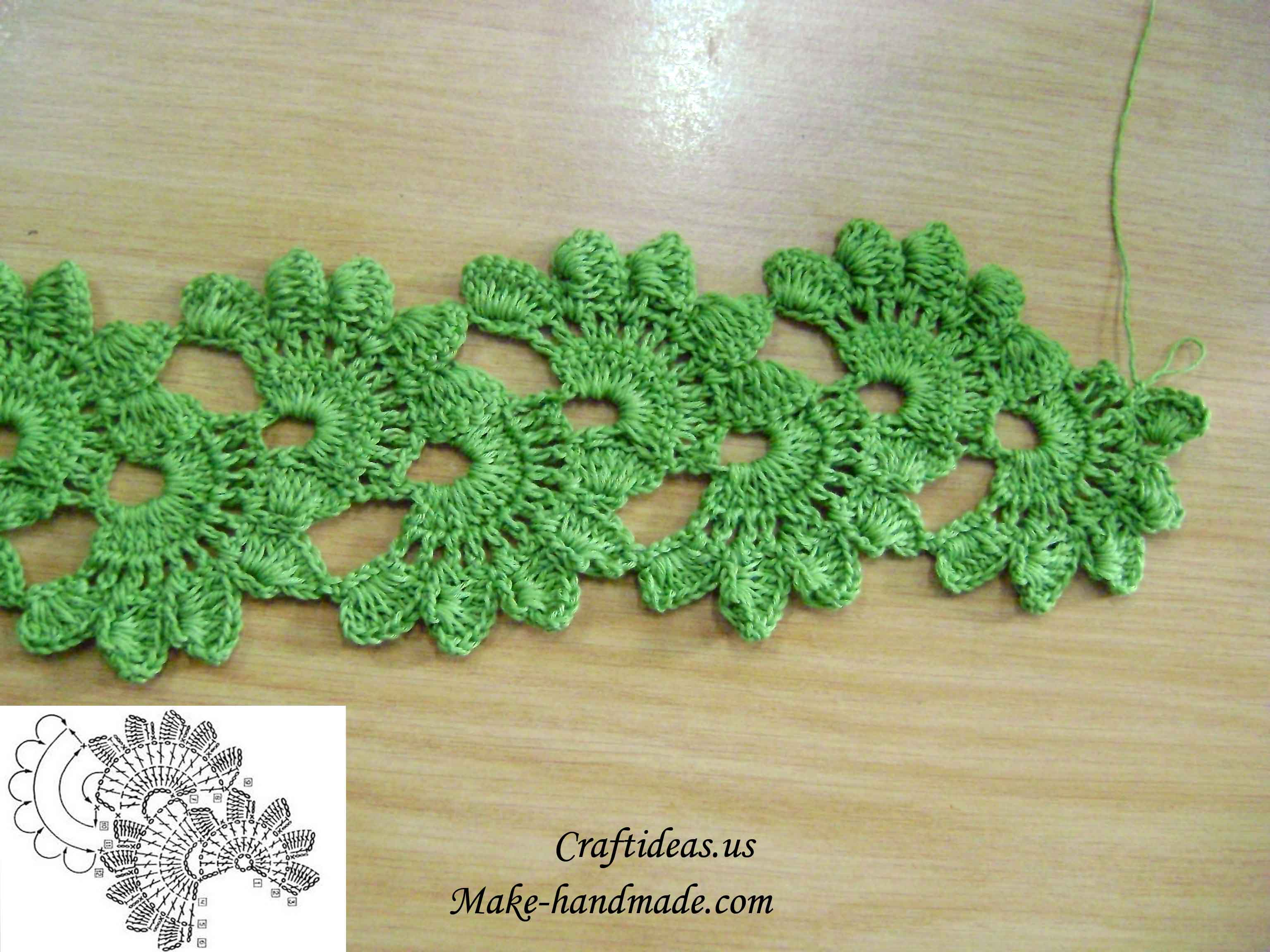 Crochet Ideas : Crochet flower for a strip and scarf - Craft Ideas