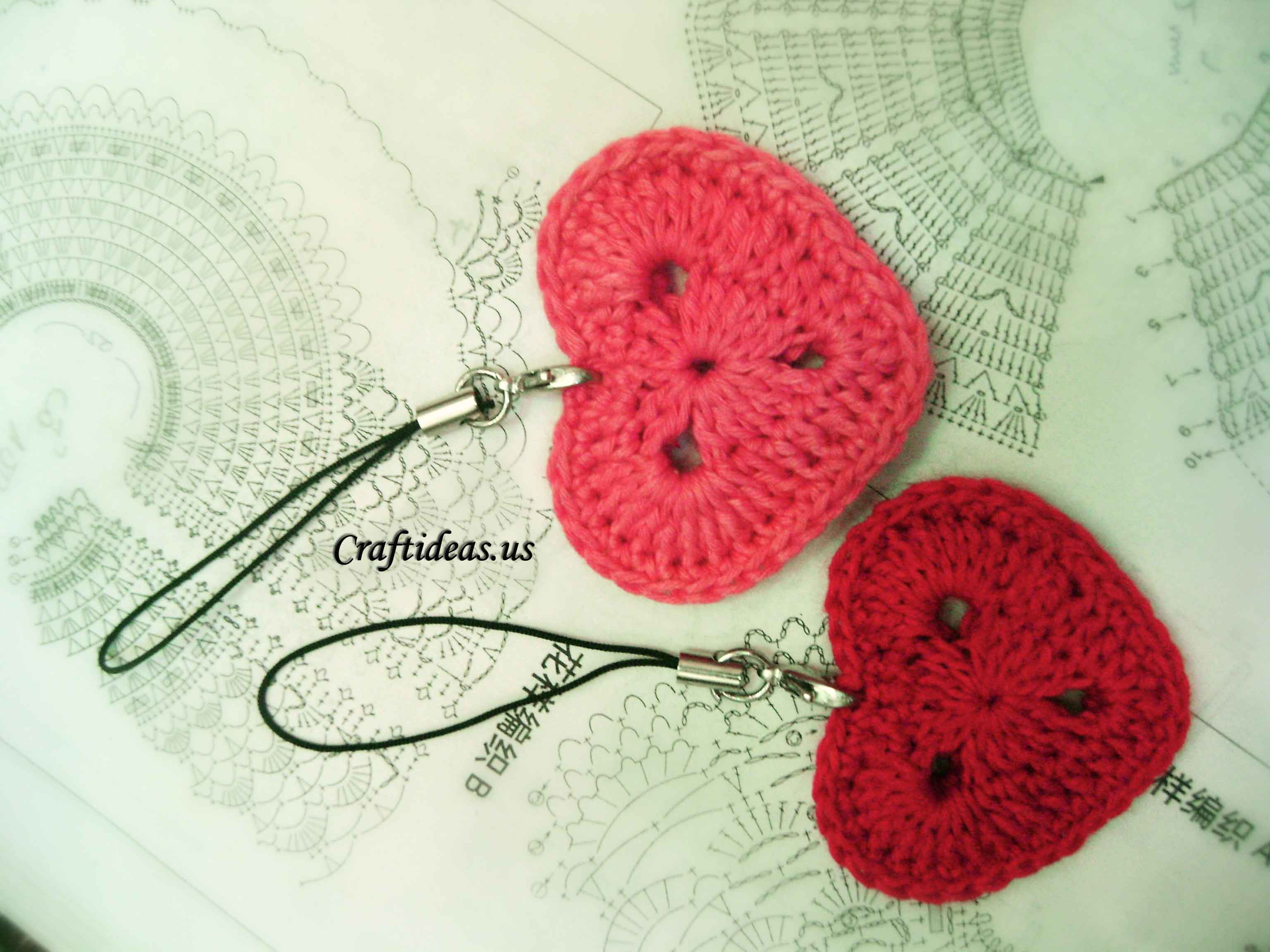 Crochet Heart : crochet heart key chain for valentine