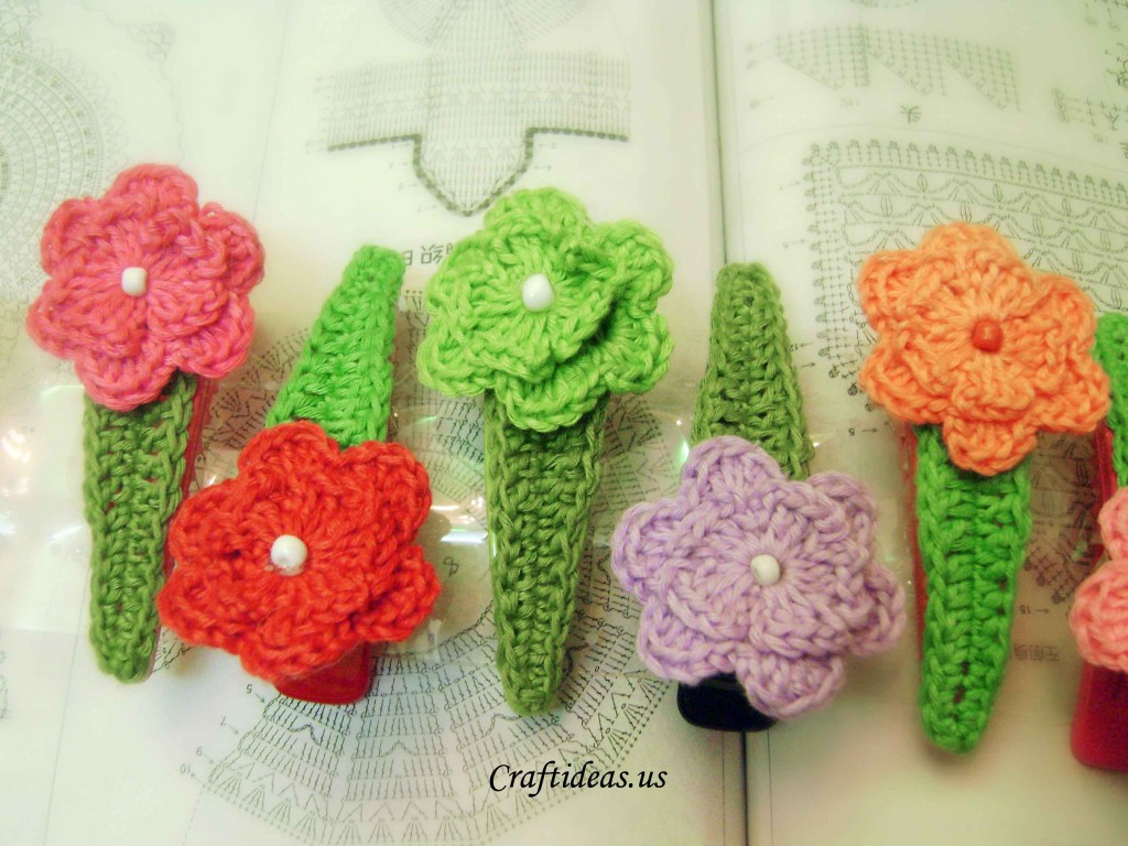 Crochet flower hairclips, more ideas