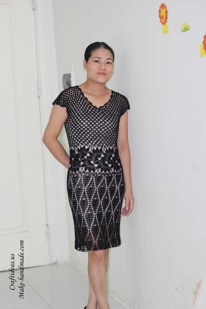 Crochet lace flower dress for ladies