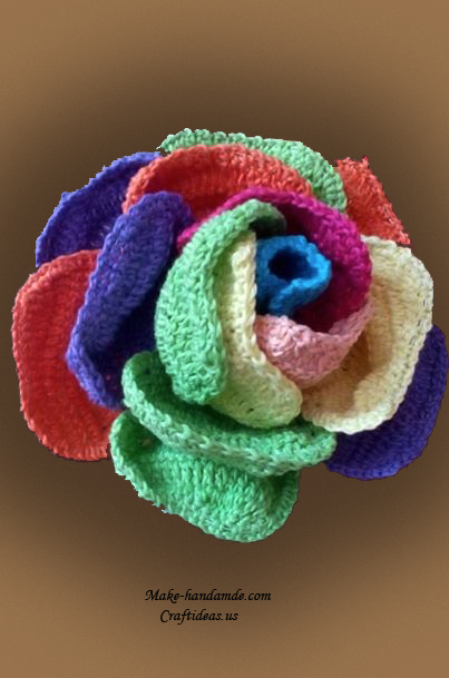 Crochet beautiful colorful rose