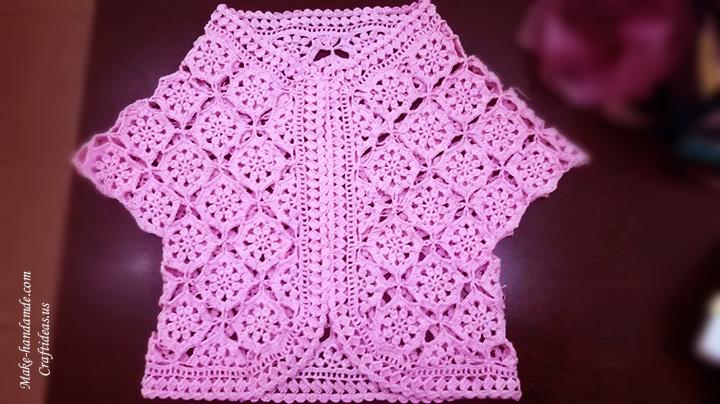 Crochet flower lace vest for girl
