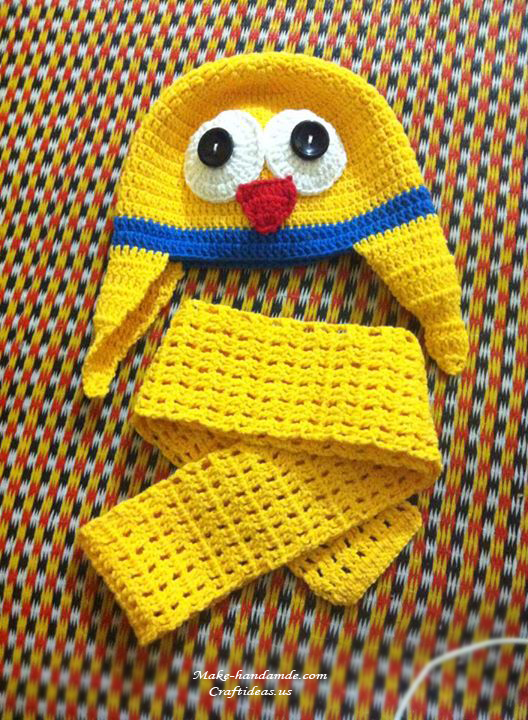 Free Knitting Pattern Duck Hat : Crochet little duck hat and scarf for kid - Craft Ideas
