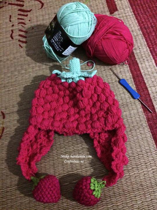 Crochet strawberry hat with popcorn stitches - Craft Ideas