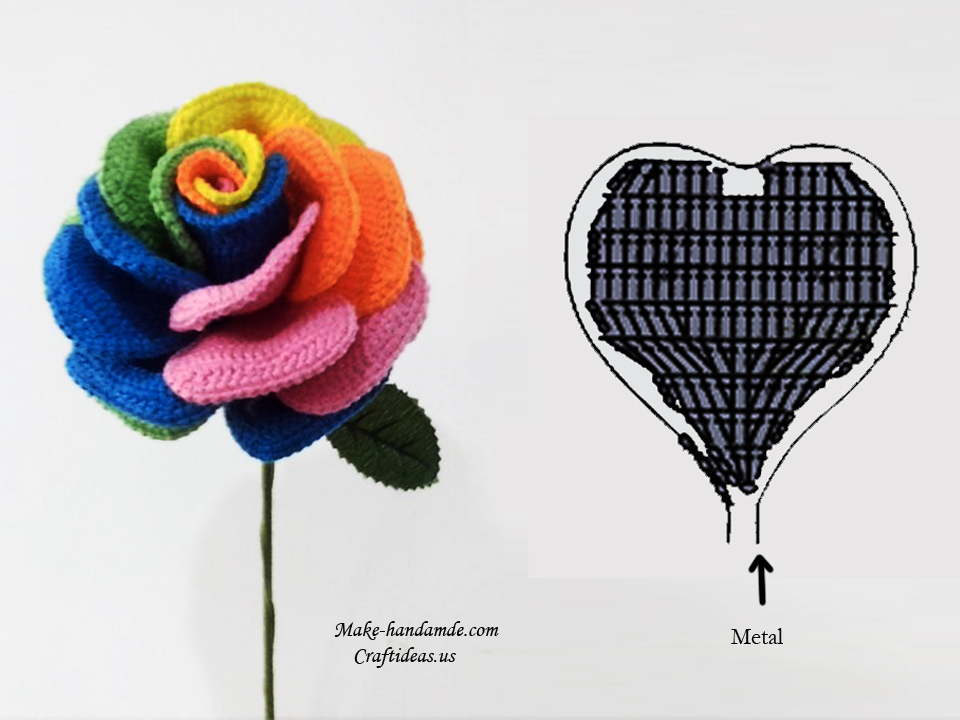 crochet colorful rose chart