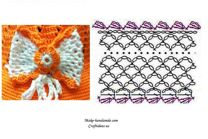 crochet lace cute bow chart