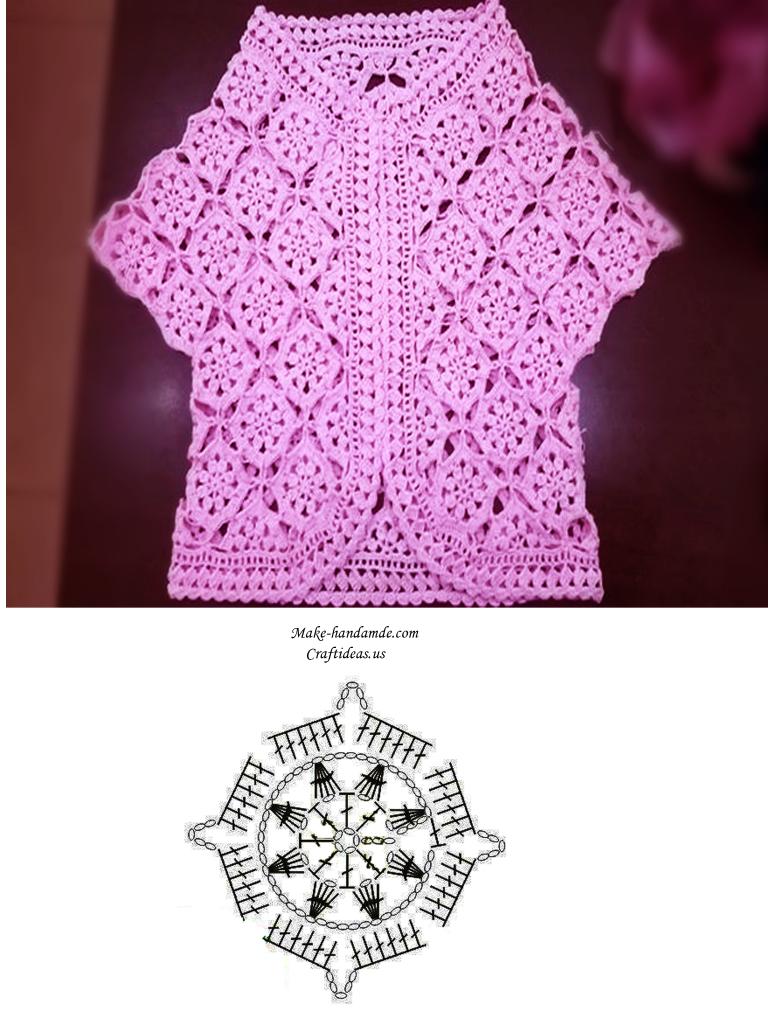 crochet lace vest chart