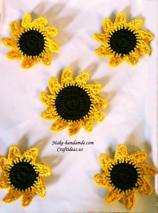 crochet sunflower for accessories