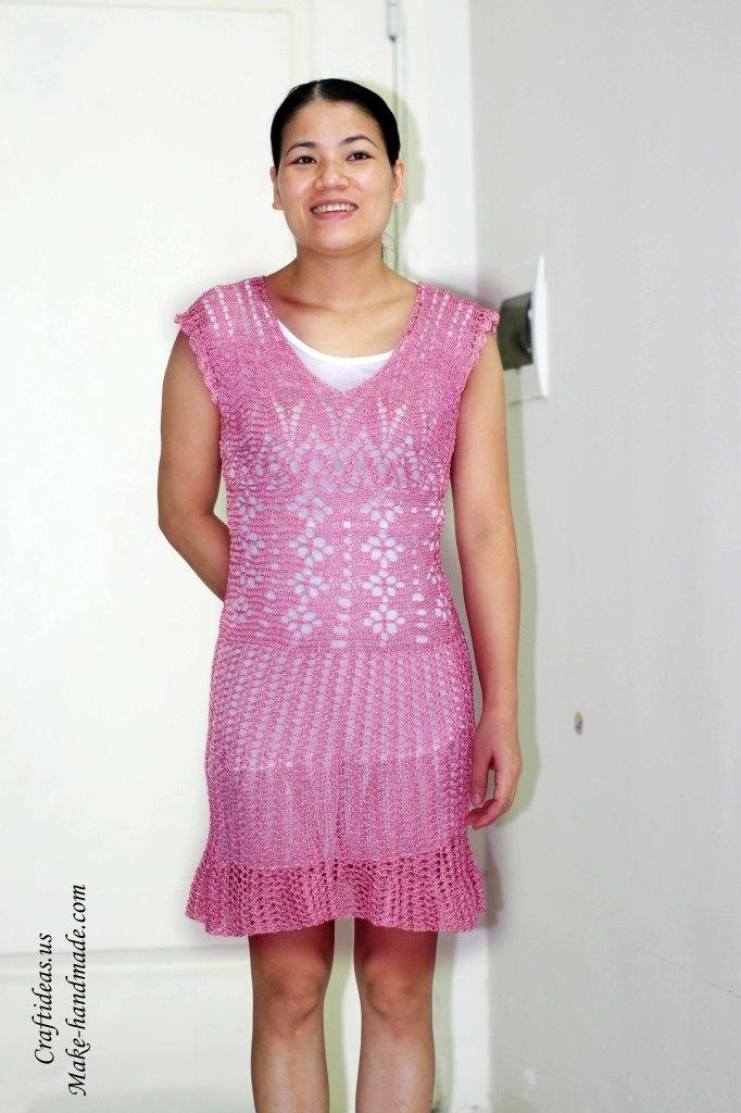 Crochet beautiful lace dress for women