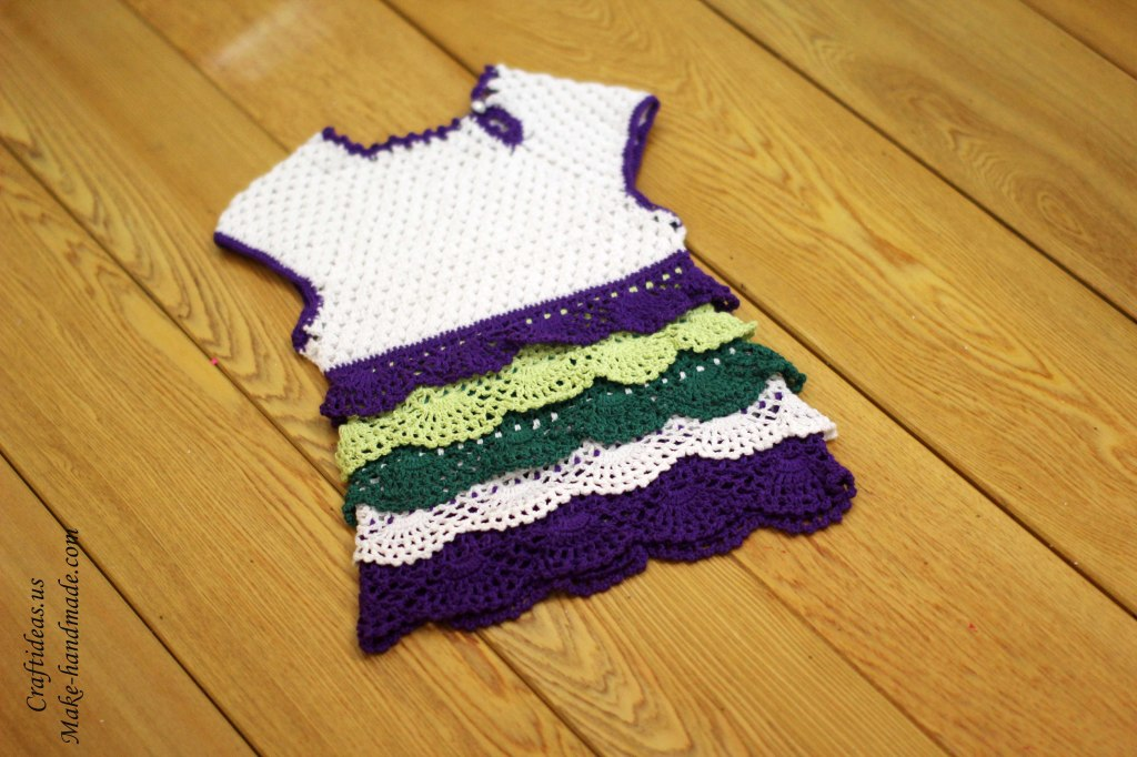 Crochet colorful layers baby dress