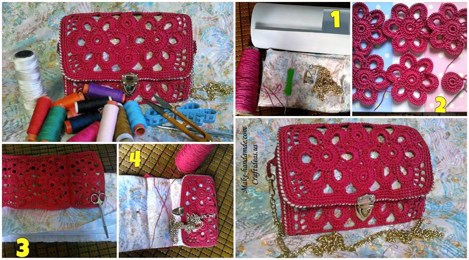 Crochet lace flower handbag for women craft ideas for Craft ideas for women