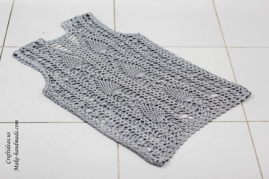 Crochet lace leaves jacket and vest back part