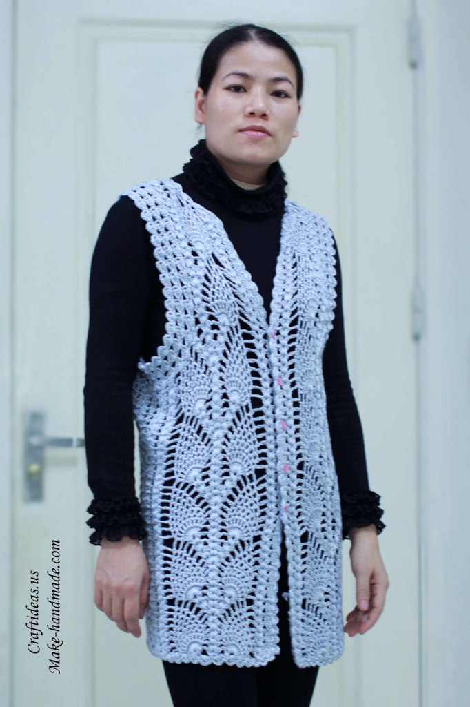 Crochet beauty pineapple jacket and vest