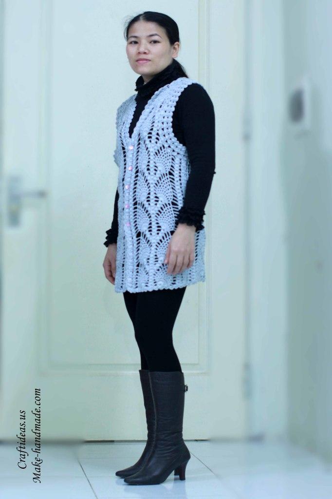 Crochet beauty pineapple jacket and vest ideas