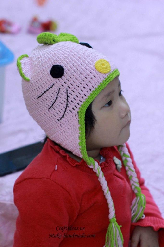 Crochet cute hello kitty hat