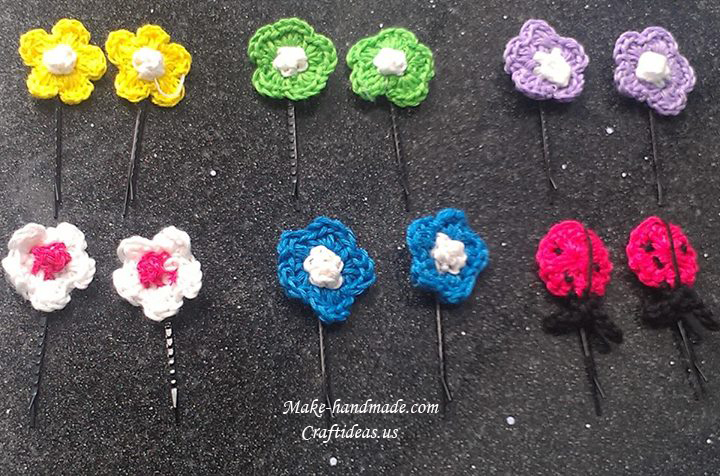Crochet flower and ladybug hair clips