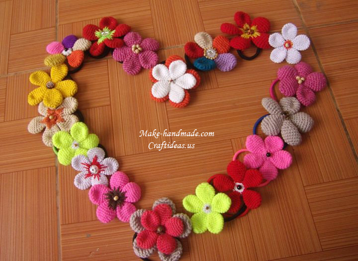 Crochet Hair Clip Ideas : Crochet bows and flowers for hair accessories - Craft Ideas