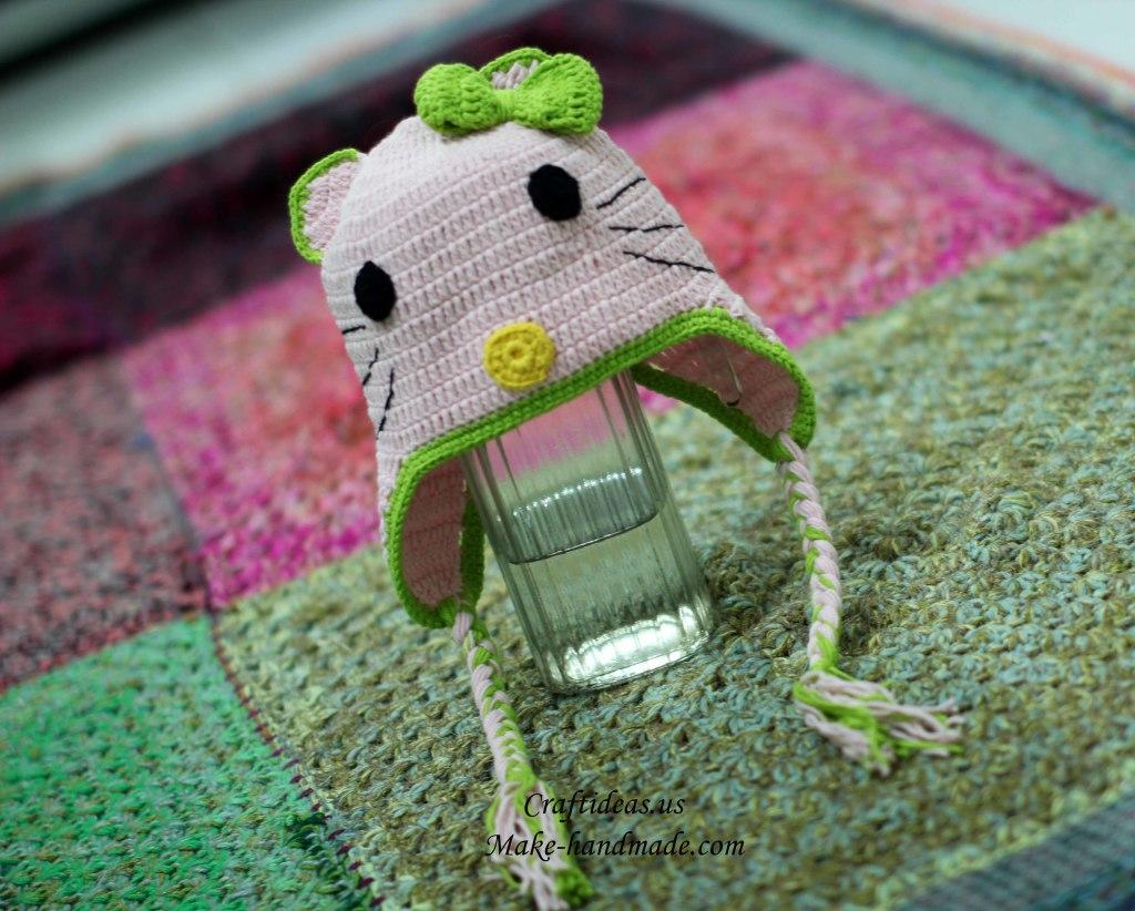 Crochet hello kitty hat for little girl
