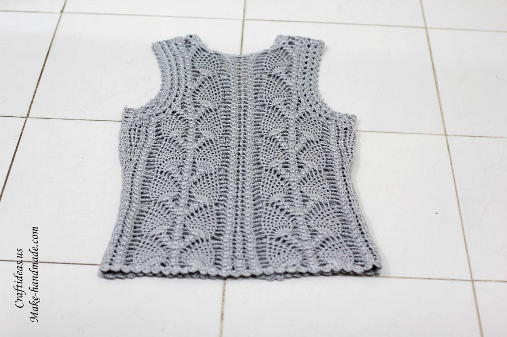 Crochet lace leaves jacket and vest for women back part