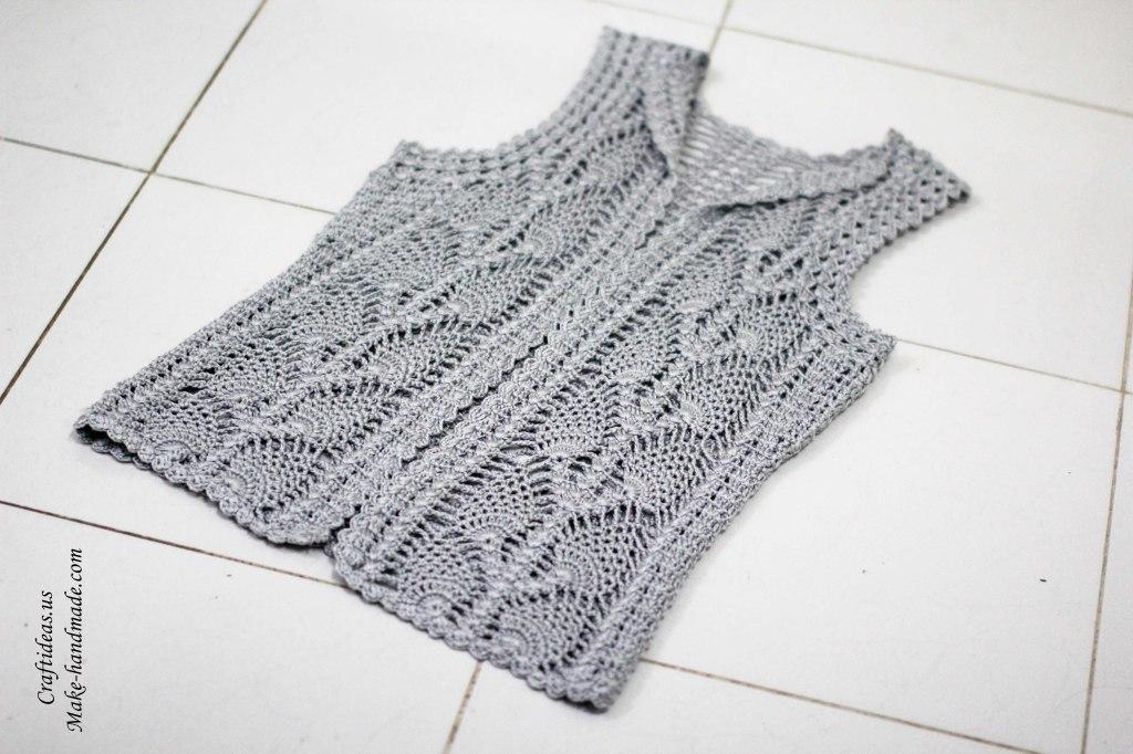 Crochet lace leaves jacket for women