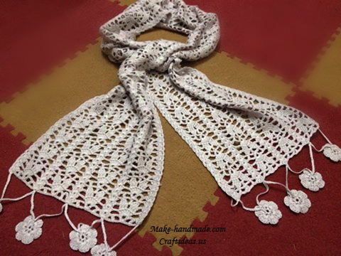 Crochet lace leaves scarf chart - Craft Ideas