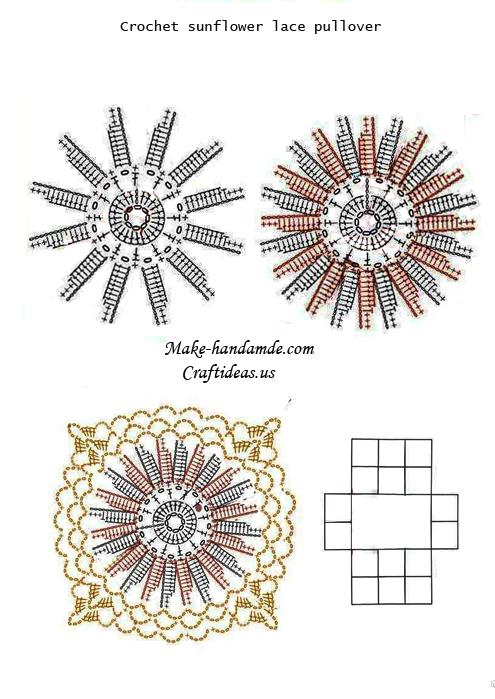 Crochet Baby Sweater Diagram : Crochet lace sunflower pullover for beach - Craft Ideas