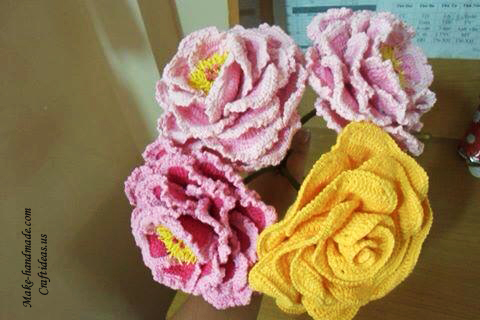 Crochet peony flowers for beautiful bouquet