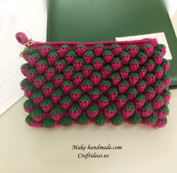 Crochet Strawberry Stitiches For Cute Purse Craft Ideas
