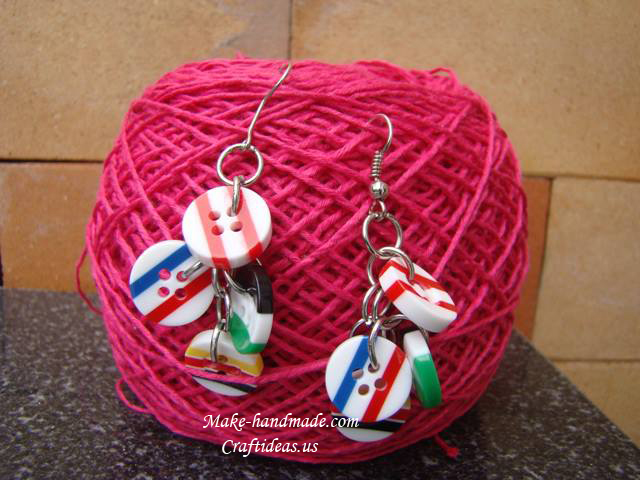 handmade earrings for kids from bottons