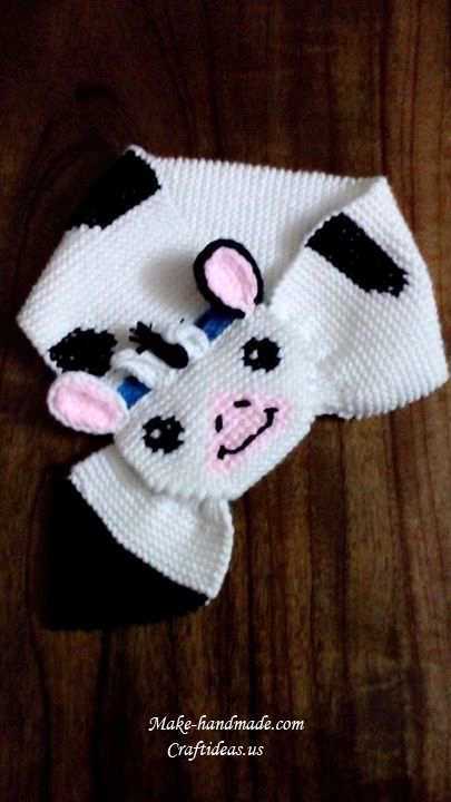 knitting dairy cow scarf