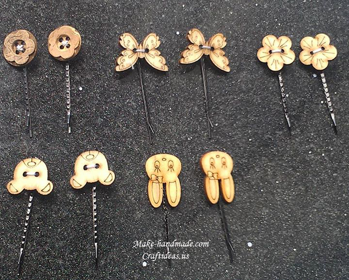 wood bottons hair clips ideas