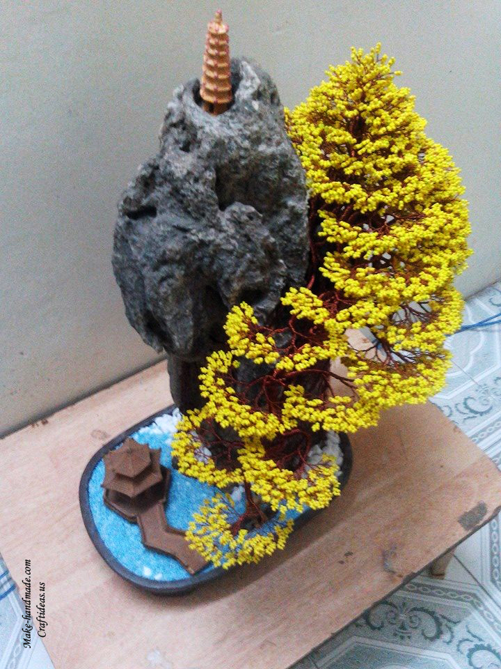 yellow beaded tree