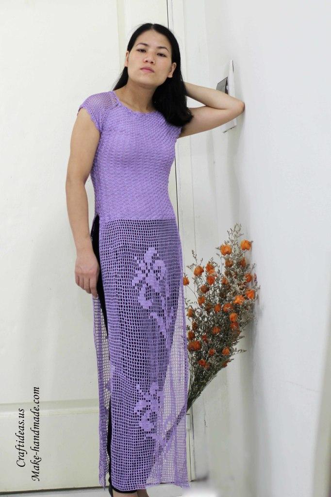 Crochet beauty lace flower dress for women