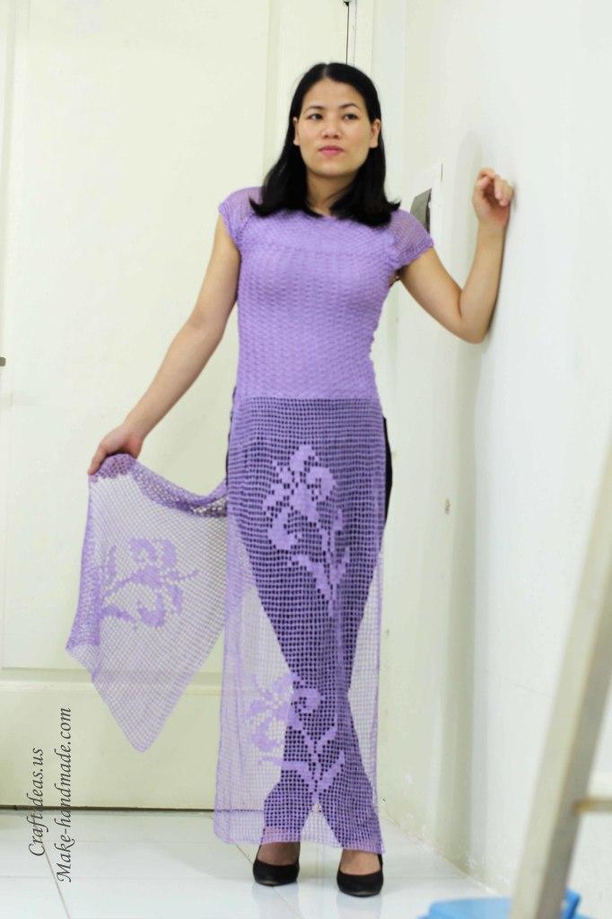 Crochet charming Vietnam dress ideas of fillet chart
