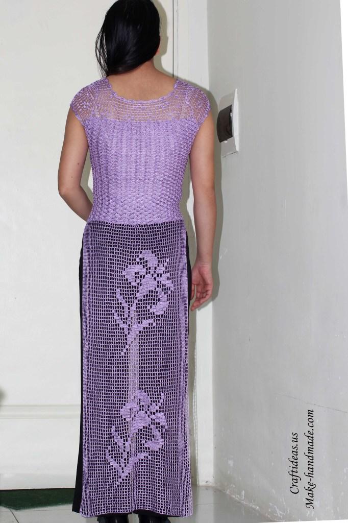 Crochet lace dress of filet pattern