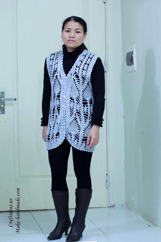 Crochet pineapple women vest and jacket