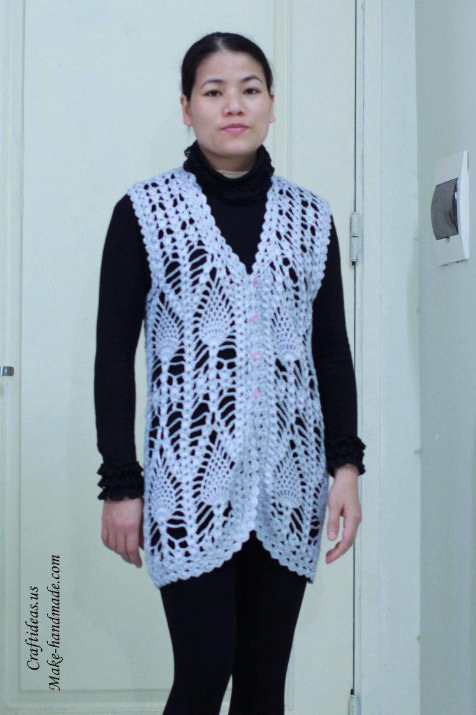 Crochet pineapple women vest and jacket idea