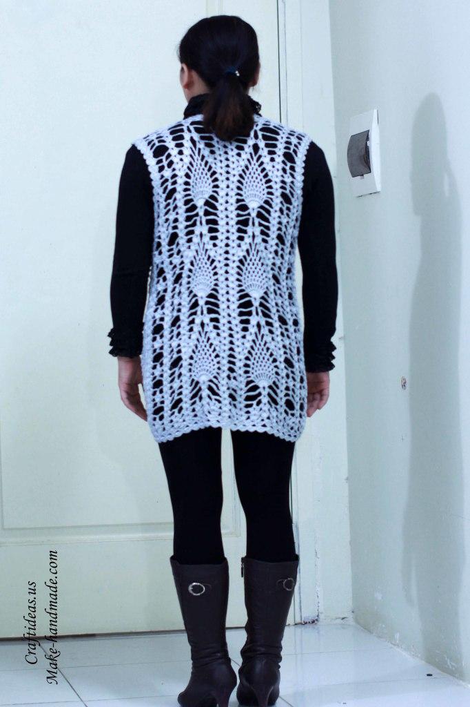 Crochet pineapple women vest and jacket ideas