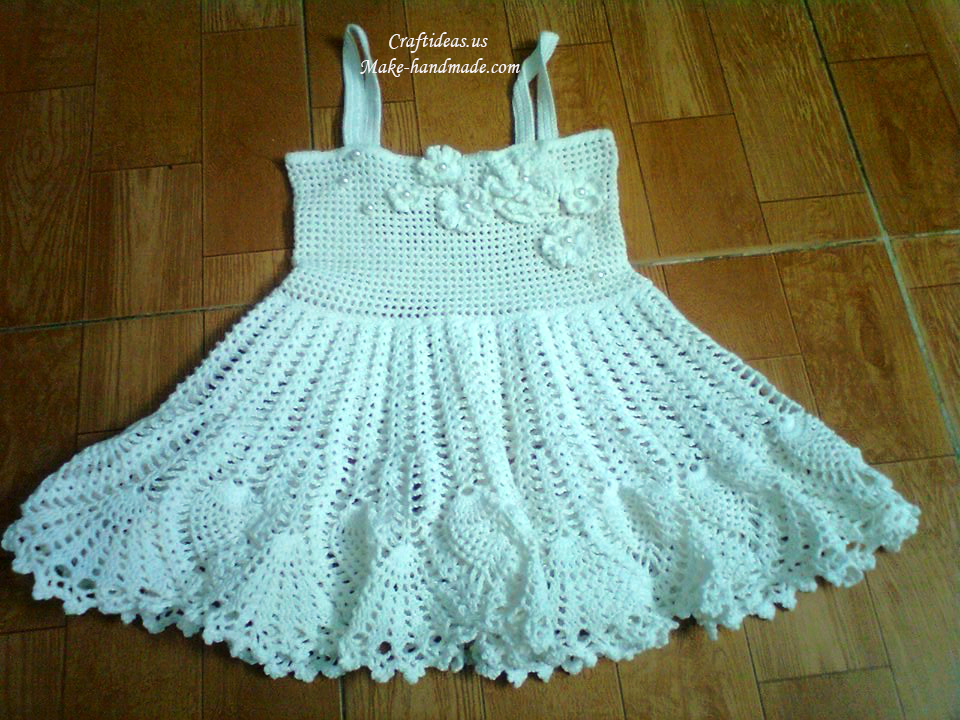 Crochet White Baby Dress For Summer Craft Ideas