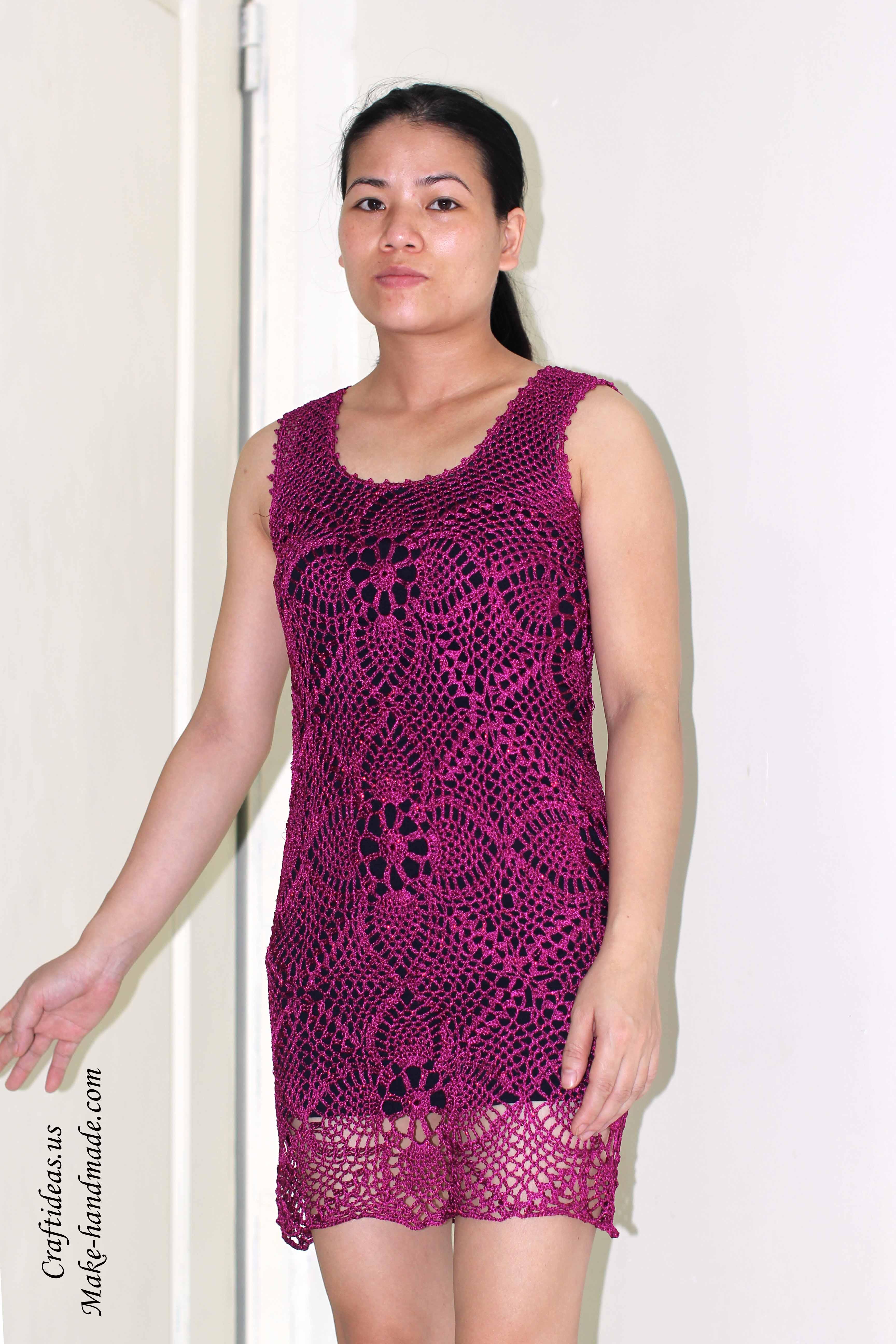 Crochet beauty summer dress of pineapple granny squares ...