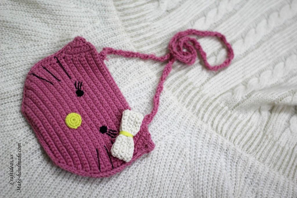 Crochet hello kitty bag and purse for little kid, crochet chart