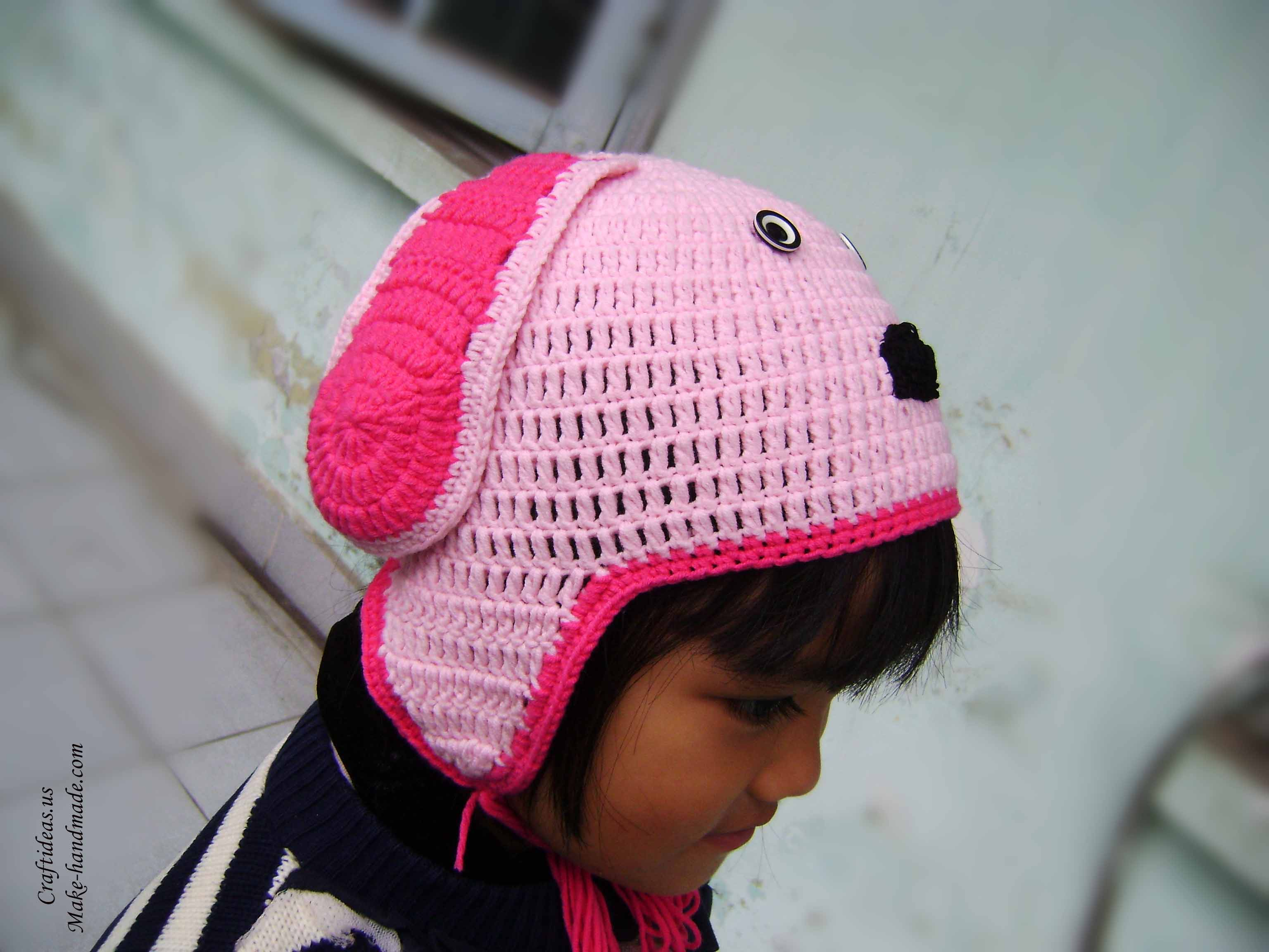 Crochet dog hat for kid craft ideas for Craft hats for kids