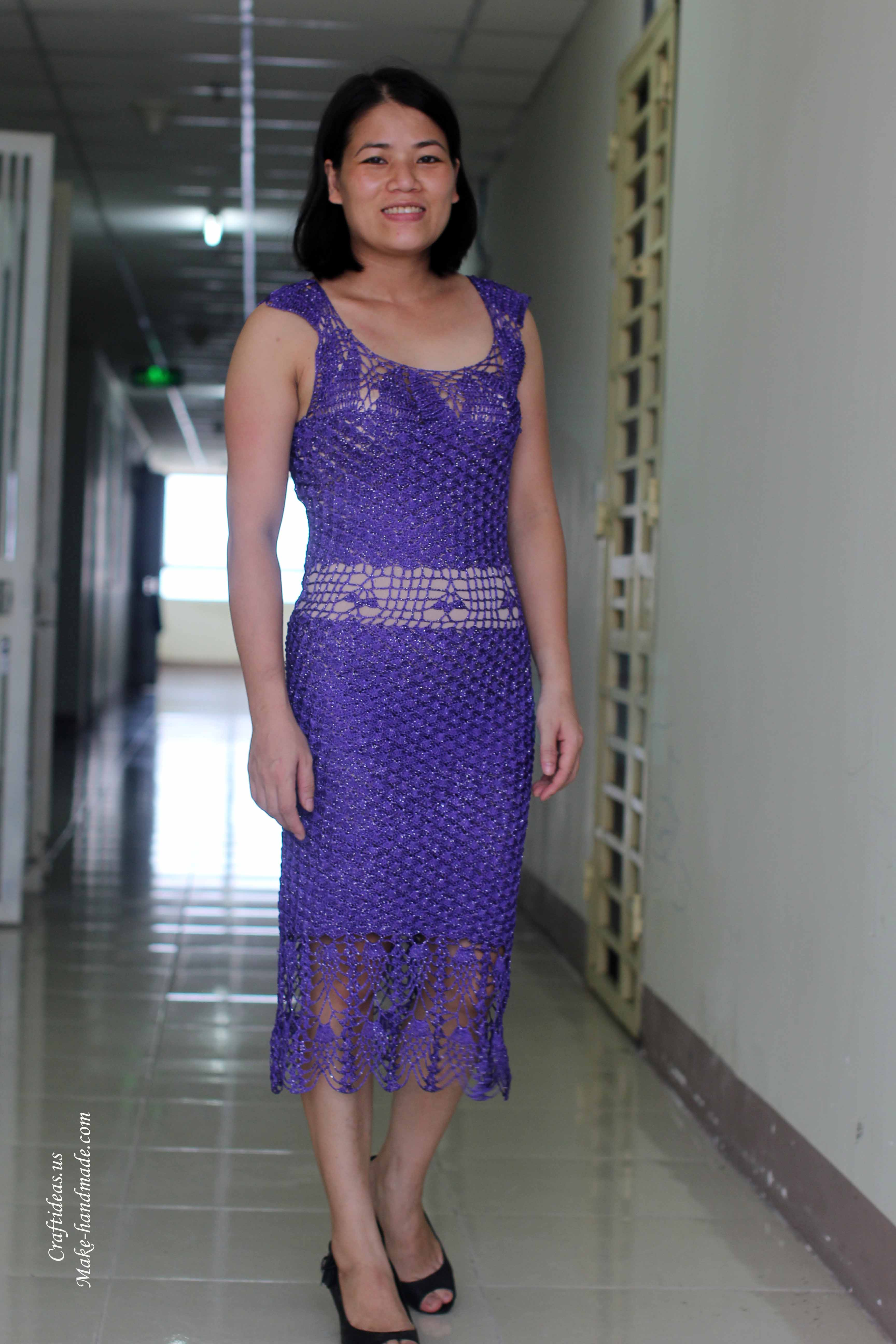 Crochet lovely purple dress for party - Craft Ideas