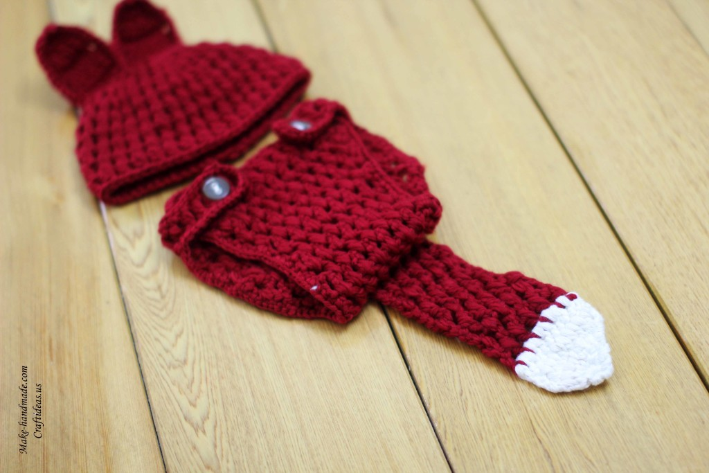Crochet fox set for little kids: crochet hat and diaper pants, crochet ...