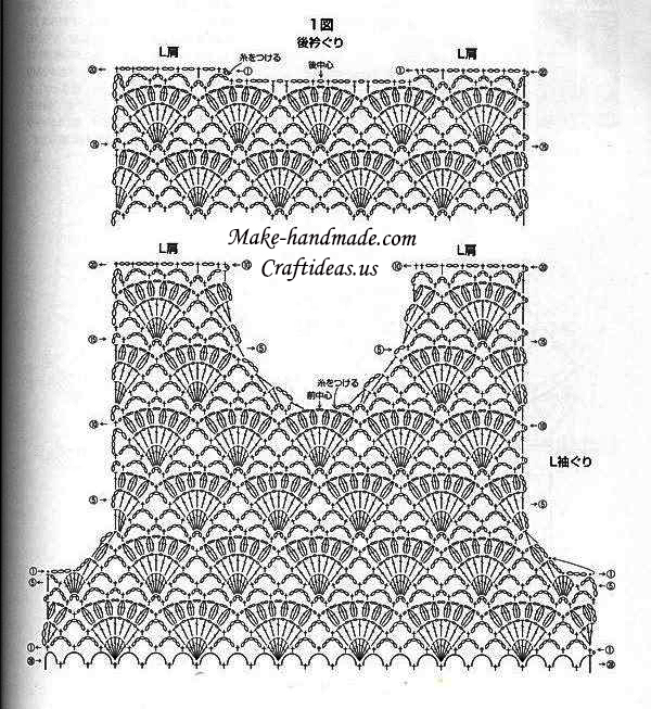 Crochet top dress chart